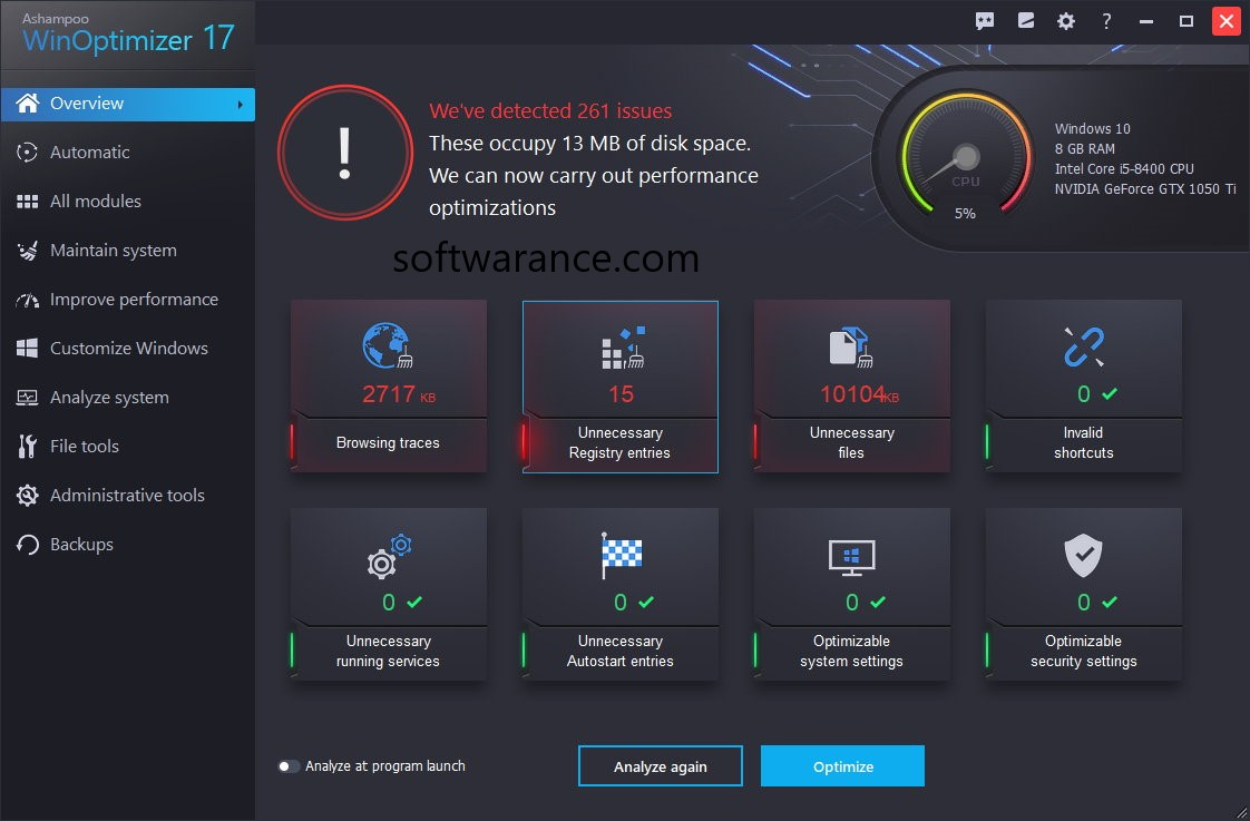 Ashampoo WinOptimizer 17.00 Crack + Key 2019 Free Download